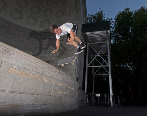 Kyle Hamilton, handstand flip off the Central Park Bandshell.